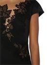 Siyah Kayık Yaka Güpürlü Mini Kokteyl Elbise
