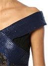Rhea Lacivert V Yaka Dantel İşlemeli Maksi Elbise