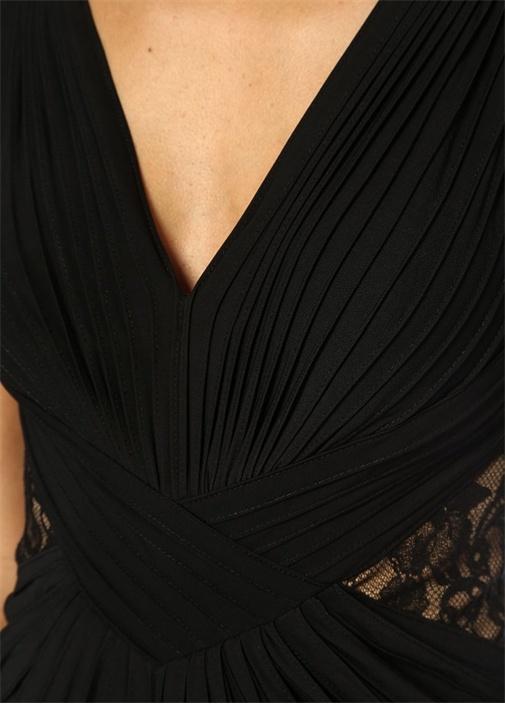 Rizo Siyah V Yaka Drapeli Dantelli Maksi Elbise