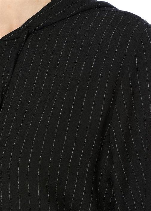 Siyah Çizgili Kapüşonlu Sweatshirt