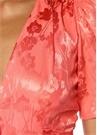 Pembe Bağcıklı Dekolteli Midi Saten İpek Elbise