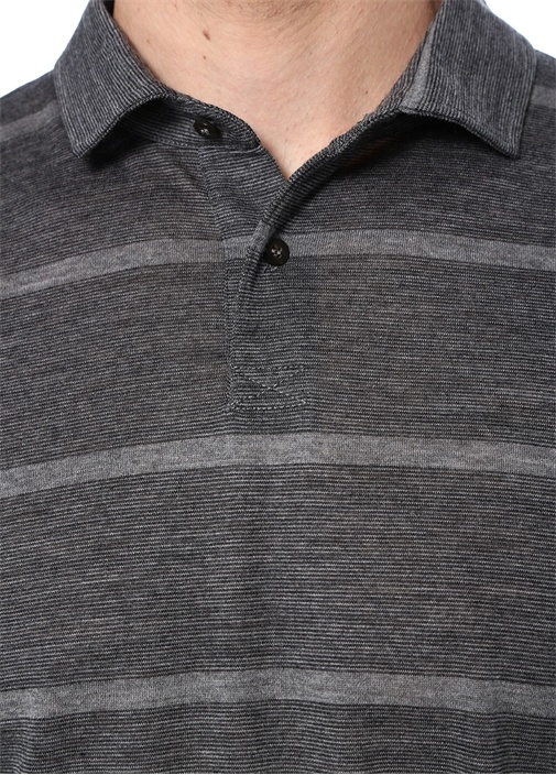 Antrasit Çizgili İngiliz Yaka Yün T-shirt