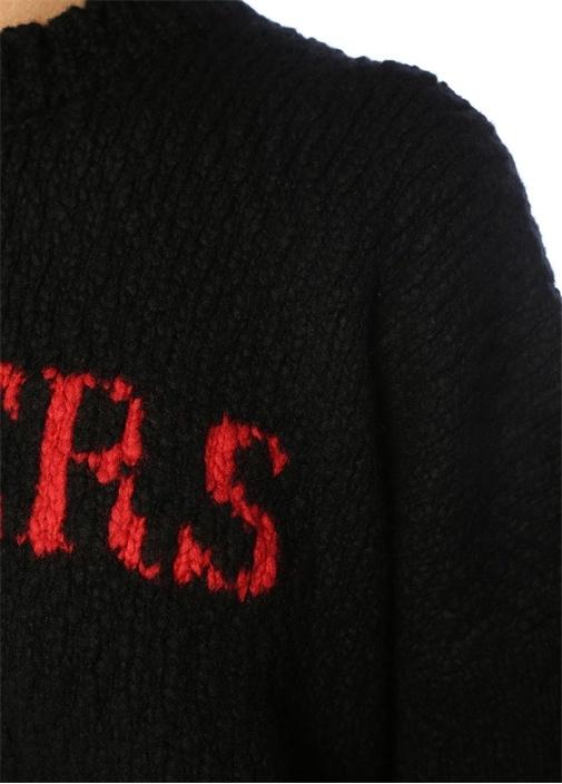 Lovers Siyah Kırmızı Jakarlı Düşük Kol Yün Kazak