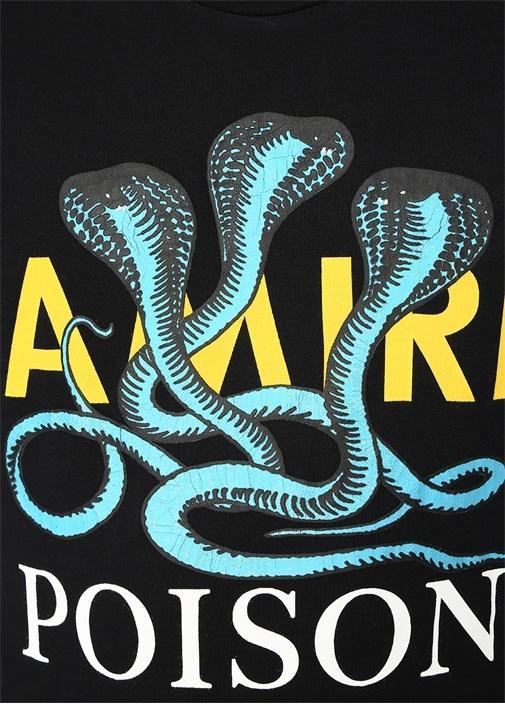Poison Siyah Yılan Baskılı T-shirt