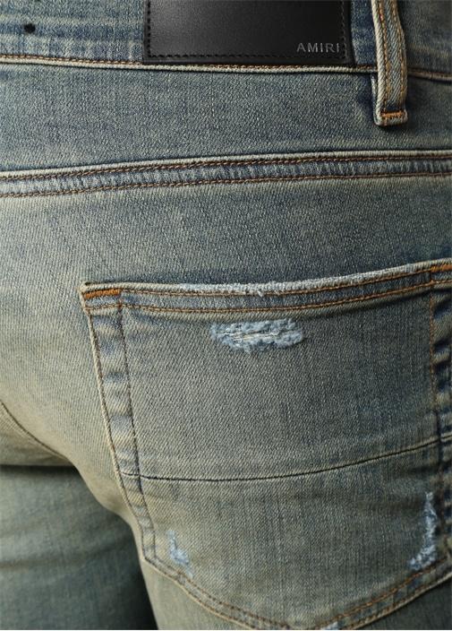 Stack Mavi Yıpratmalı Dar Paça Jean Pantolon