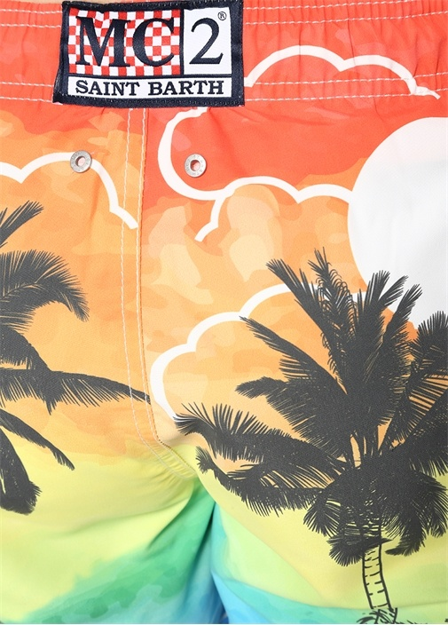 Sunset Palm Tropikal Baskılı Mayo