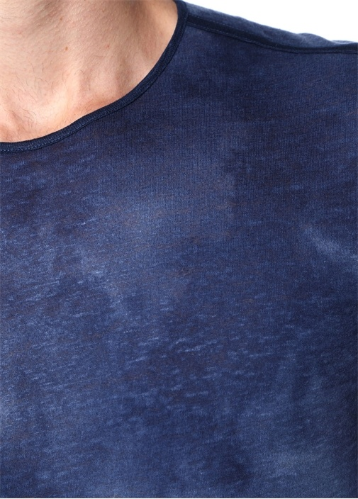 Lacivert Bisiklet Yaka Basic Keten T-shirt