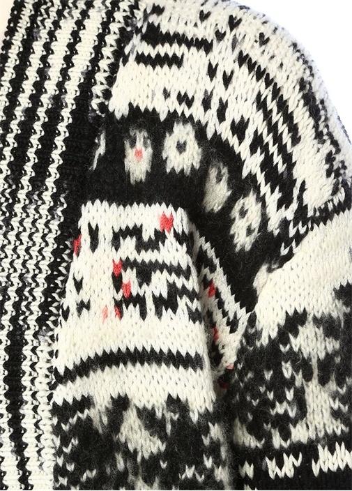 Siyah Beyaz Karışık Desenli Kaşmir Hırka