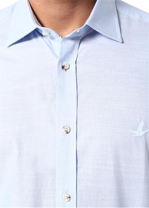 Slim Fit Mavi Logo Nakışlı Gömlek
