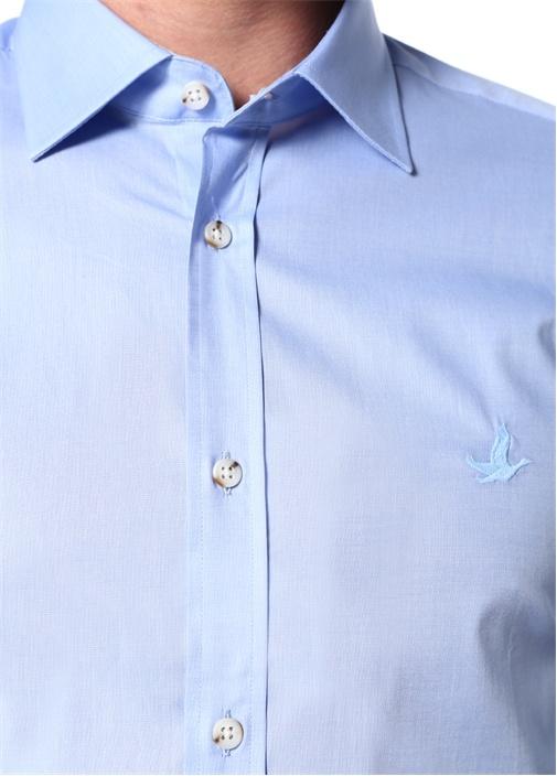 Slim Fit Mavi Klasik Yaka Poplin Gömlek