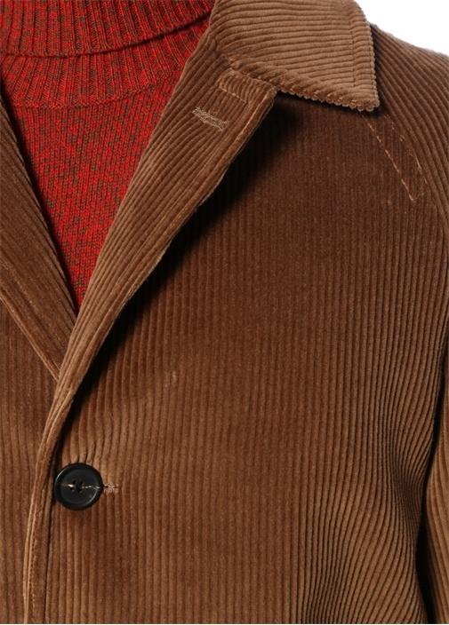 Kamel Kelebek Yaka Çizgi Dokulu Palto