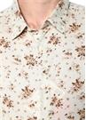 Bej Çiçek Desenli İngiliz Yaka Gömlek