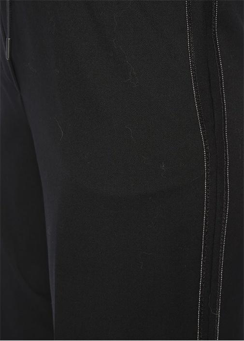 Yüksek Bel Zincirli Şeritli Bol Paça Yün Pantolon
