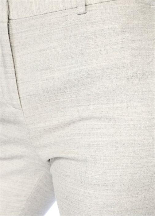Gri Melanj Cepleri Zincirli Dar Paça Yün Pantolon
