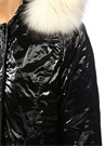 New Chamois Metalik Siyah Kapüşonlu Puff Mont