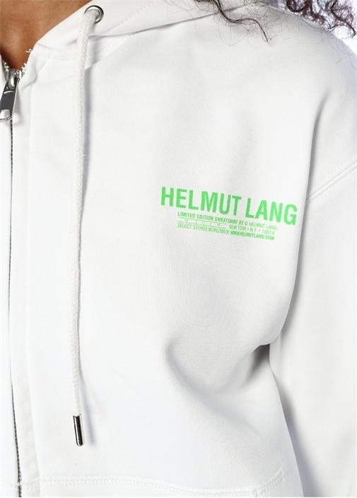 Beyaz Kapüşonlu Fermuarlı Logo Baskılı Sweatshirt