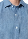 Mavi Düğmeli Yaka Denim Görünümlü KetenGömlek