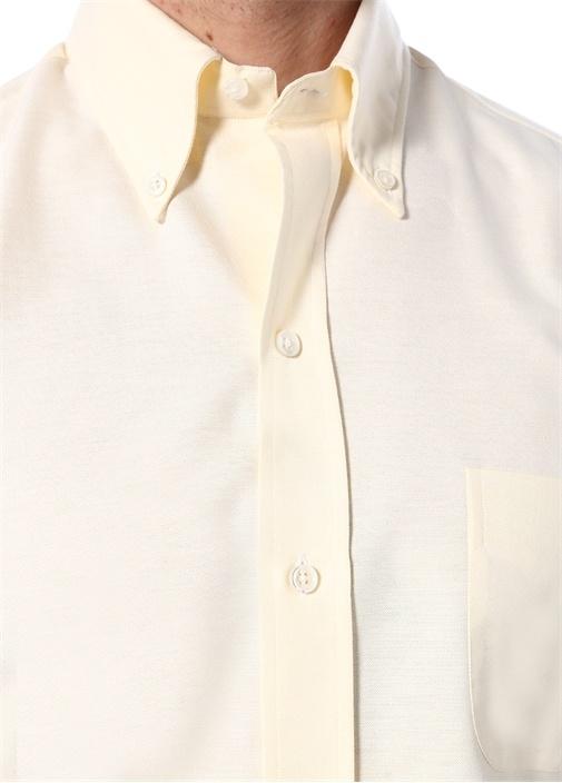 Sarı Yakası Düğmeli Cepli Dokulu Gömlek