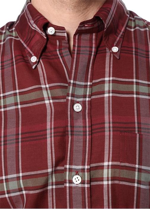 Bordo Ekose Desenli Düğmeli Gömlek