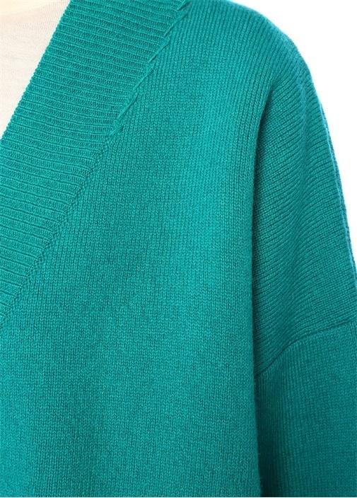 Yeşil V Yaka Logo Jakarlı Düşük Kol YünHırka