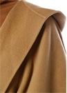 Kamel Kapüşonlu Beli Bağcıklı Yün Pelerin Palto