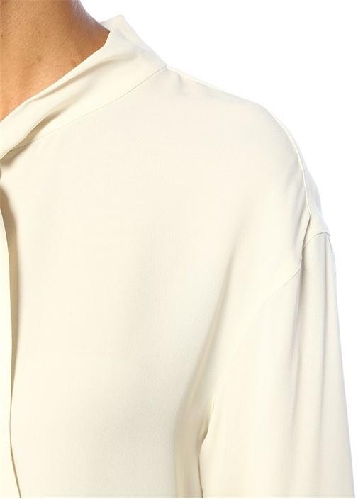 Weekender Ekru Yakası Bağcıklı İpek Bluz