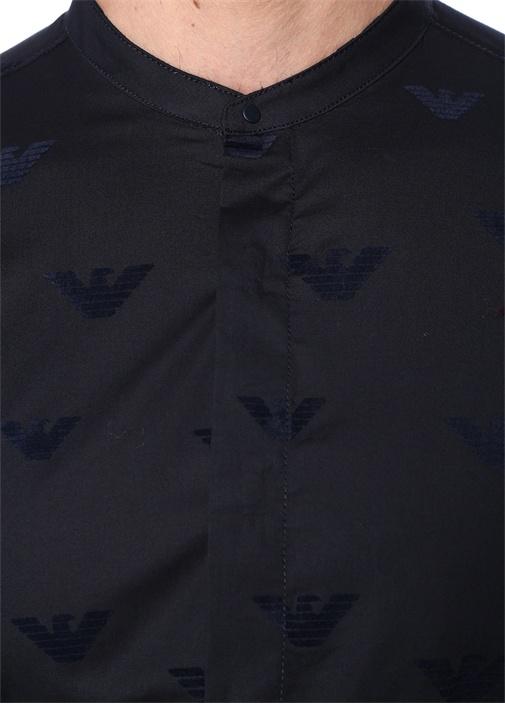 Slim Fit Lacivert Mikro Logo Baskılı Gömlek
