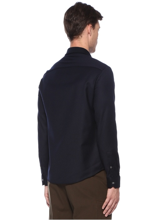 Lacivert İngiliz Yaka Yün Gömlek