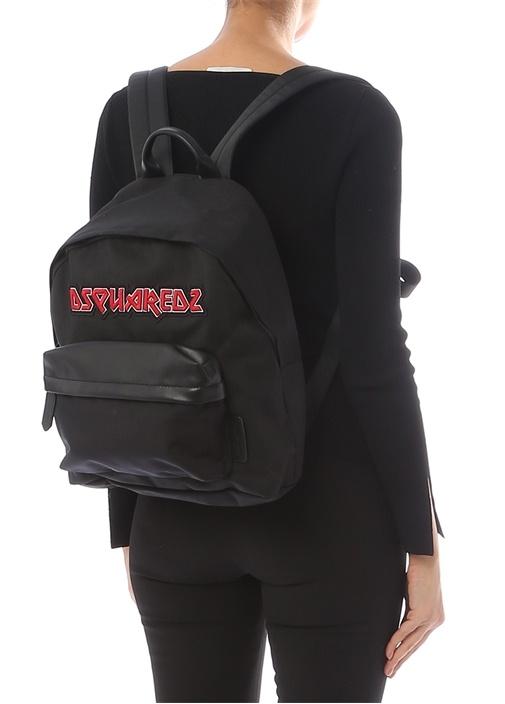 Siyah Logo Patchli Kadın Kanvas Sırt Çantası