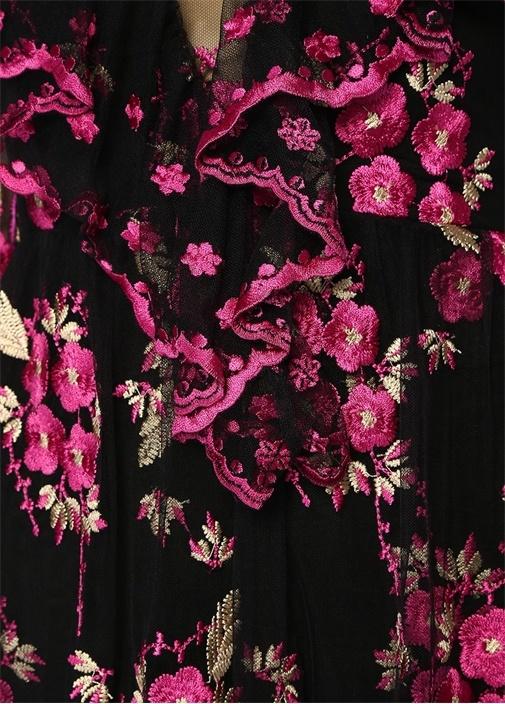Çiçek Nakışlı Asimetrik Kesim Omuz Detaylı Elbise