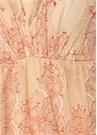 Pudra Çiçek Nakışlı Fırfırlı Midi Elbise