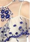 I Want You Beyaz Çiçek Nakışlı Transparan Bluz