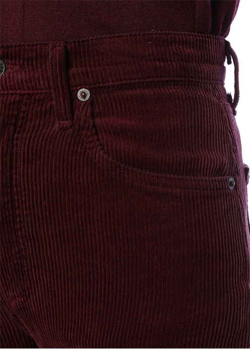 Agolde Straight Fit Bordo Kadife Pantolon
