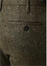 Haki Balıksırtı Desenli Yün Pantolon