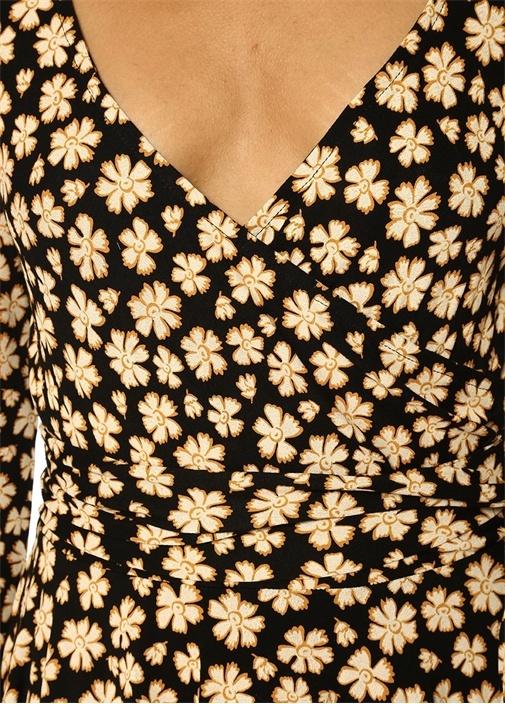 Siyah Yakası Anvelop Kapamalı Çiçekli Mini Elbise