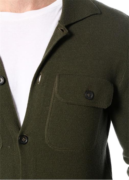 Giacca Haki Polo Yaka Dokulu Yün Dış Gömlek