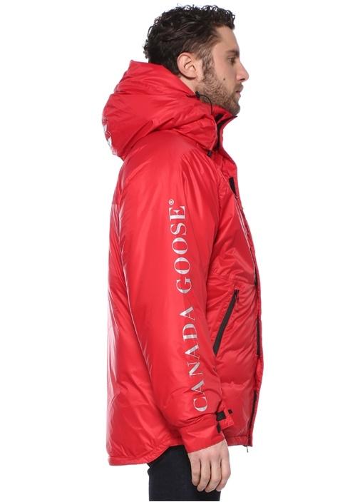 Skreslet Slim Fit Kırmızı Kapüşonlu Logolu Kaban