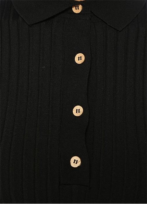 Siyah Polo Yaka Şeritli Ribli Yarım KolTriko
