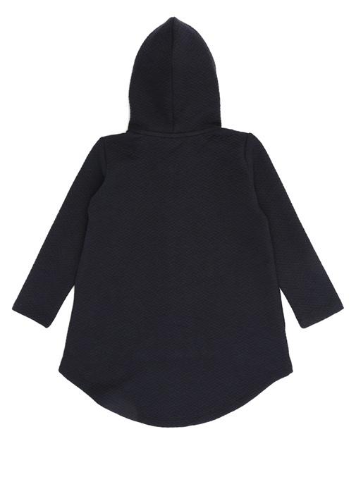 Lacivert Kapüşonlu Kız Çocuk Palto