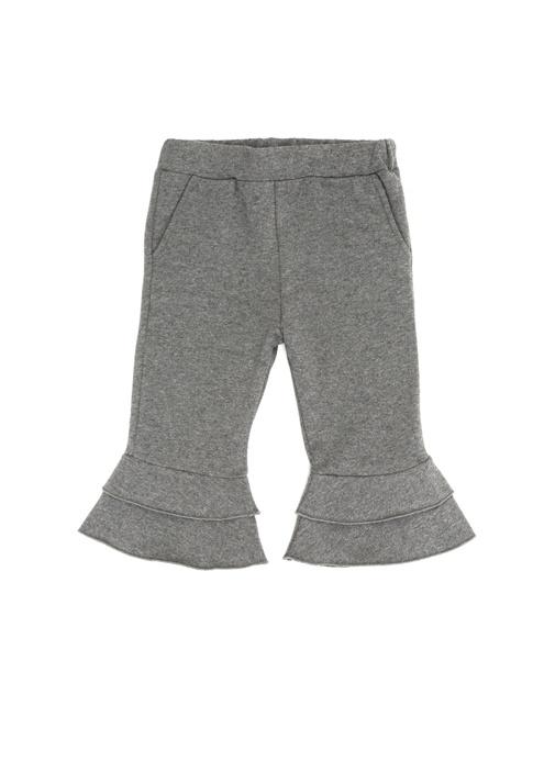 Antrasit Fırfır Detaylı Kız Bebek Pantolon
