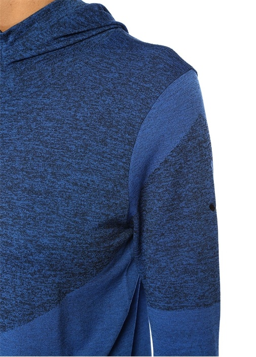 Bacoli Mavi Kapüşonlu Manşet Detaylı Ceket