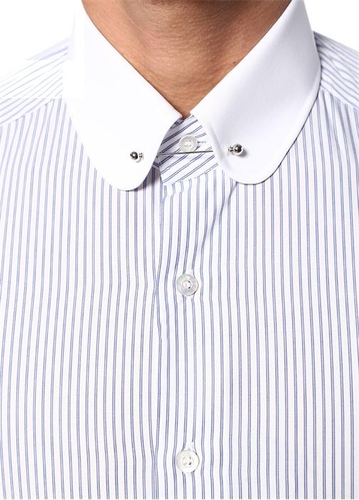 Beyaz Lacivert Çizgili Aksesuar DetaylıGömlek