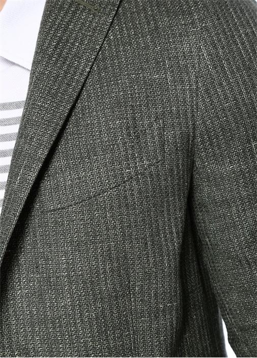 Drop 7 Yeşil Dokulu Soft Keten Ceket