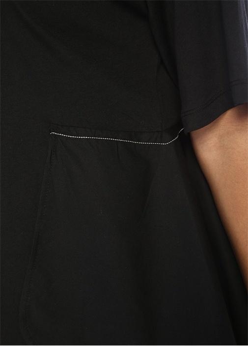 Siyah Zincirli Poplin Detaylı Volanlı T-shirt