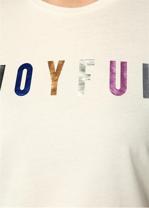 Beyaz Varaklı Yazı Baskılı T-shirt