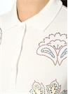 Beyaz Polo Yaka Şal Desenli Taşlı T-shirt