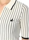Beyaz Polo Yaka Çizgili Yarım Kol Triko