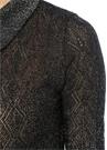 Siyah Gömlek Yaka Simli Ajurlu Yarım Kol Triko