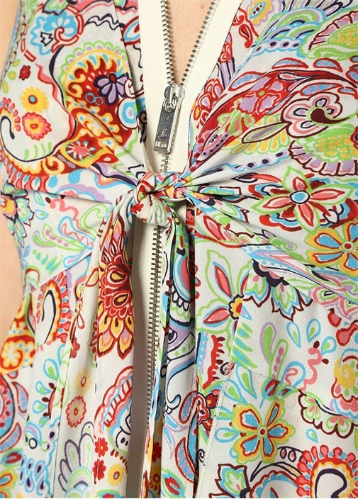 V Yaka Şal Desenli Önü Bağcıklı Maksi Elbise