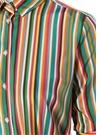 Renkli Çizgili Kuşaklı Midi İpek GömlekElbise